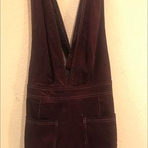 Burgundy Wide leg overalls